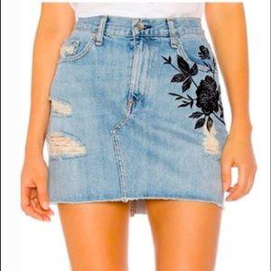 Rag & bone - ram embroidery denim dive mini skirt